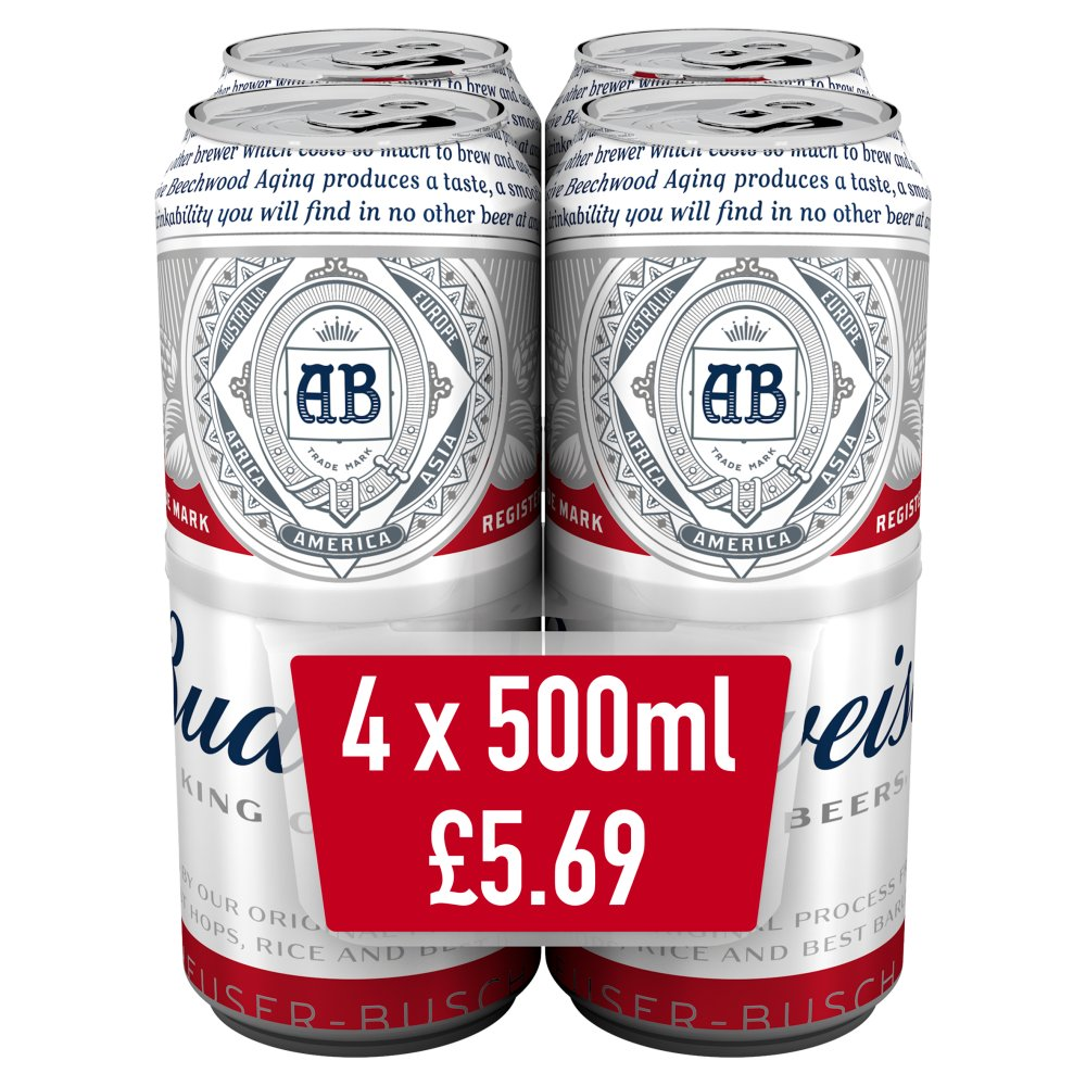 Budweiser Lager Beer Cans 4 x 500ml