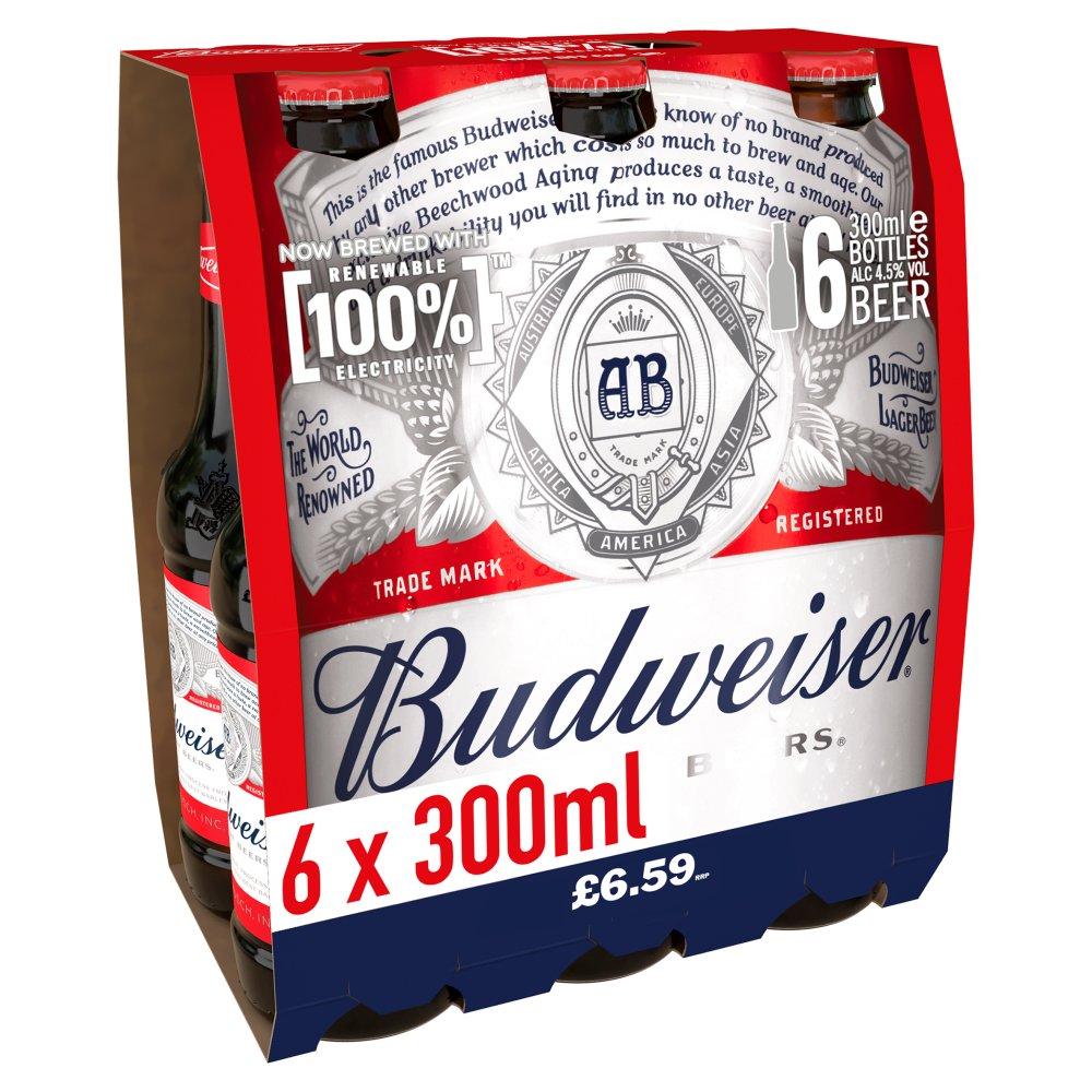 Budweiser Lager Beer Bottles 6 x 300ml