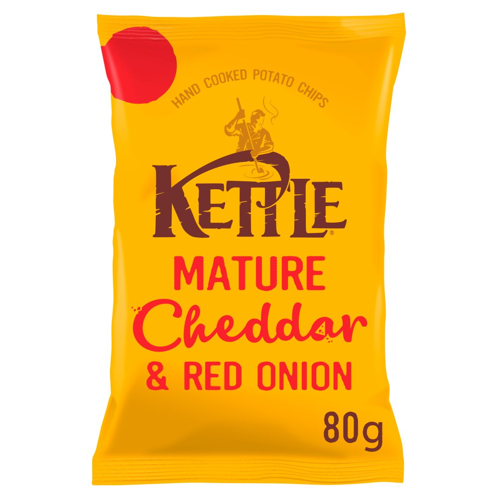 KETTLE® Mature Cheddar & Red Onion British Potato Chips 80g