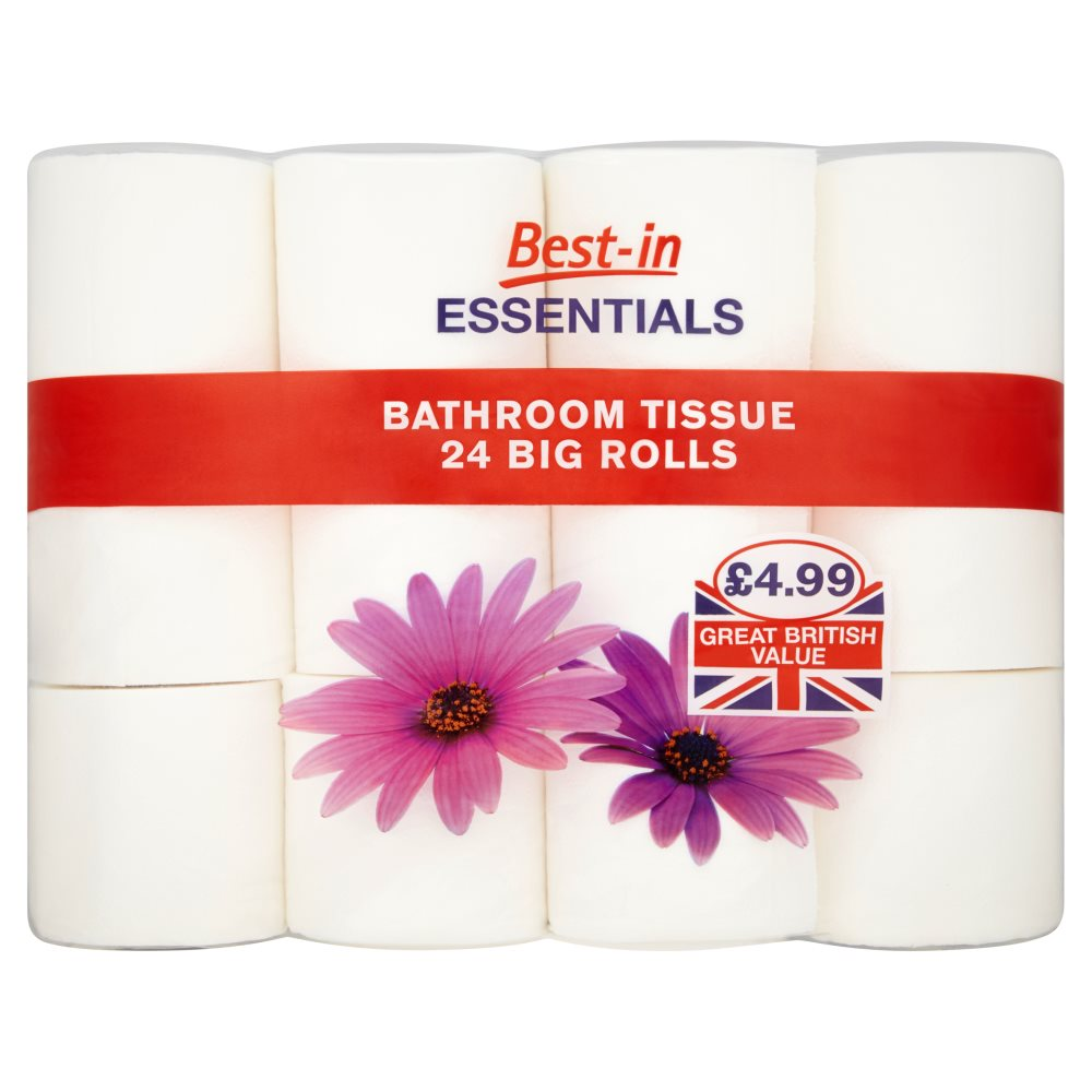 Best in essentials bathroom tissue 24 big rolls batleys for Bathroom essentials