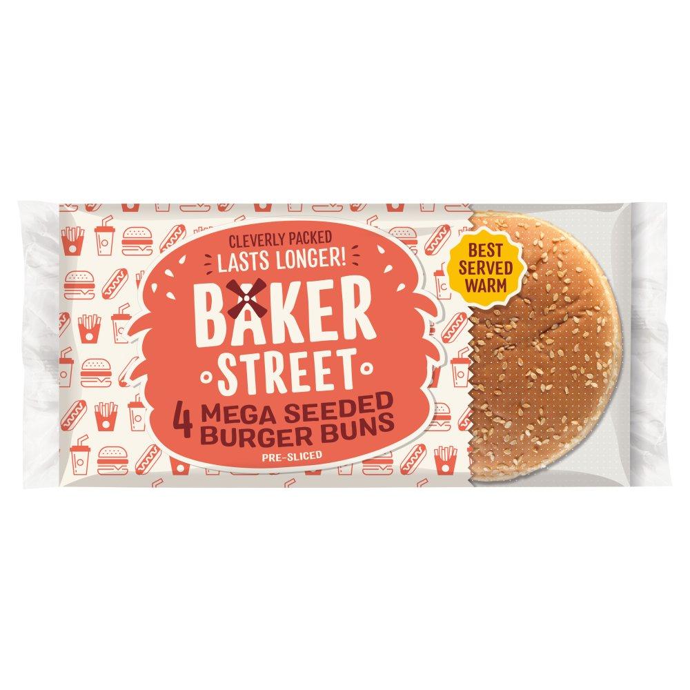Baker Street 4 Mega Burger Buns with Sesame Seeds Pre-Sliced