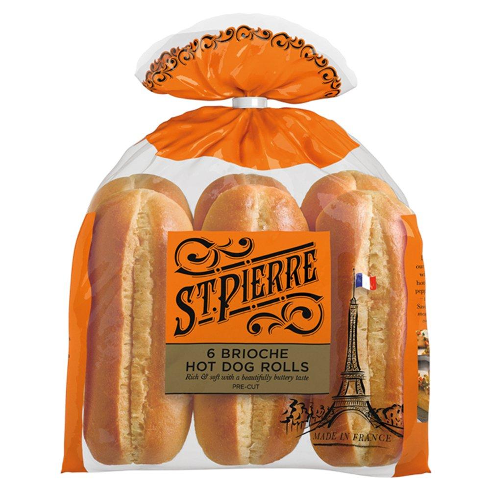 St Pierre 6 Brioche Hot Dog Rolls Pre-cut