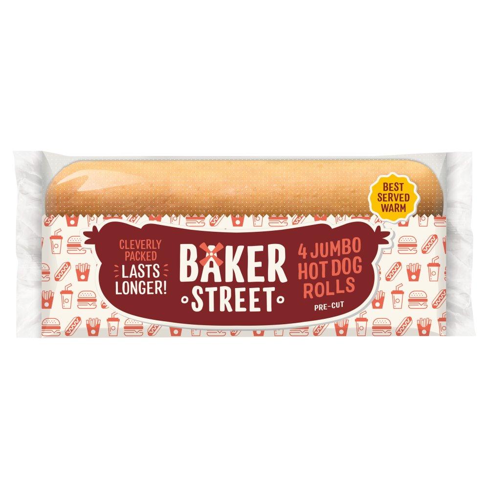 Baker Street 4 Pre-Sliced Jumbo Hot Dog Rolls