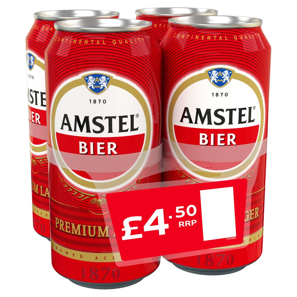 Amstel Lager Beer Can 4 x 440ml