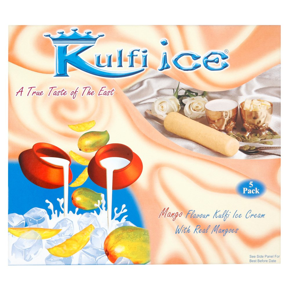 Kulfi Ice Mango Flavour Kulfi Ice Cream with Real Mangoes 5 x 70ml