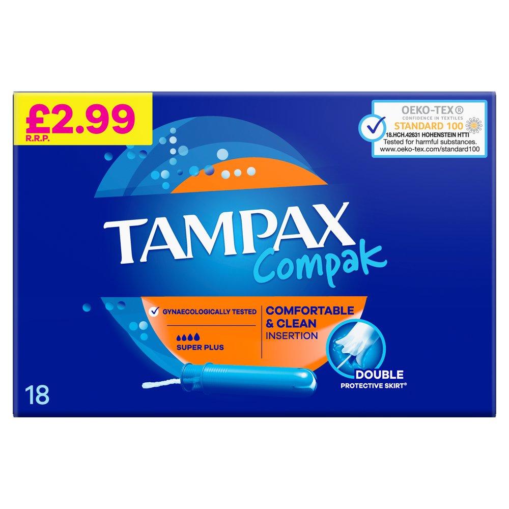 Tampax Compak Super Plus Tampons Applicator 18X