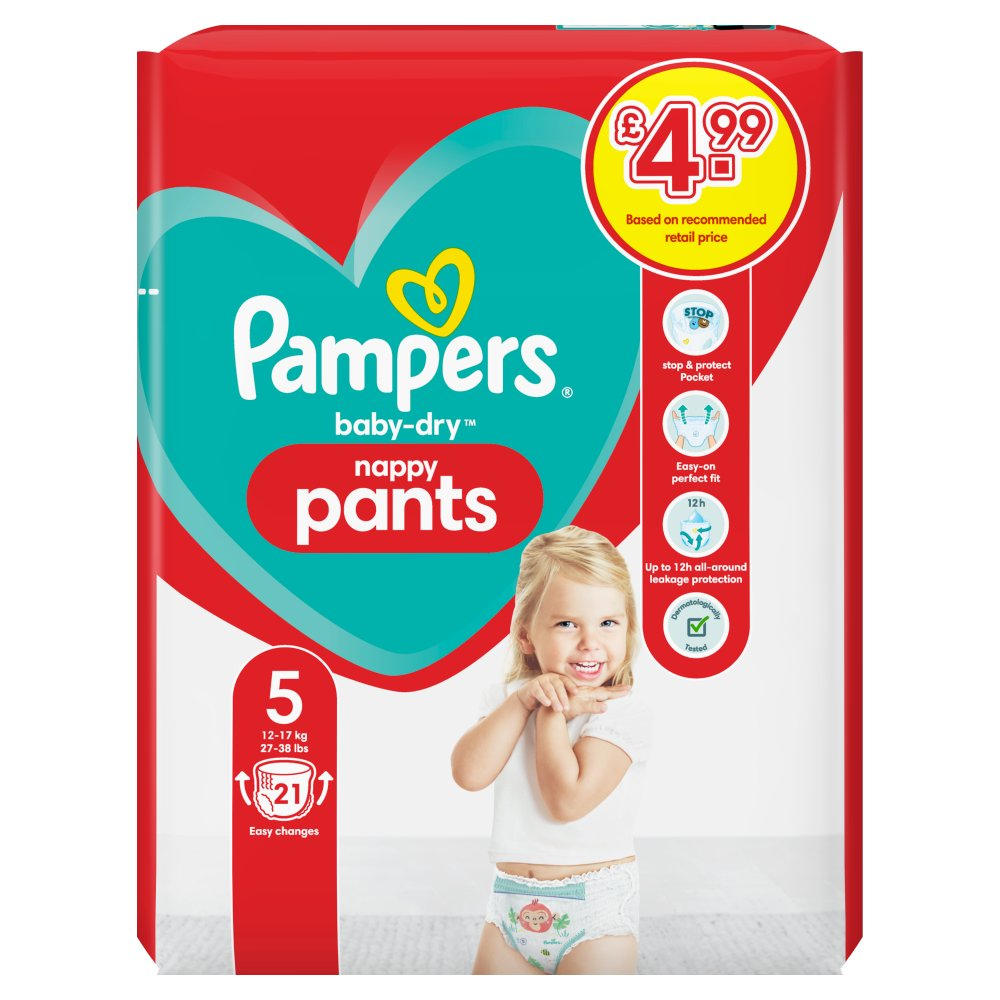 Pampers Baby-Dry Nappy Pants Size 5, 21 Nappy Pants, 12-17kg, Carry Pack