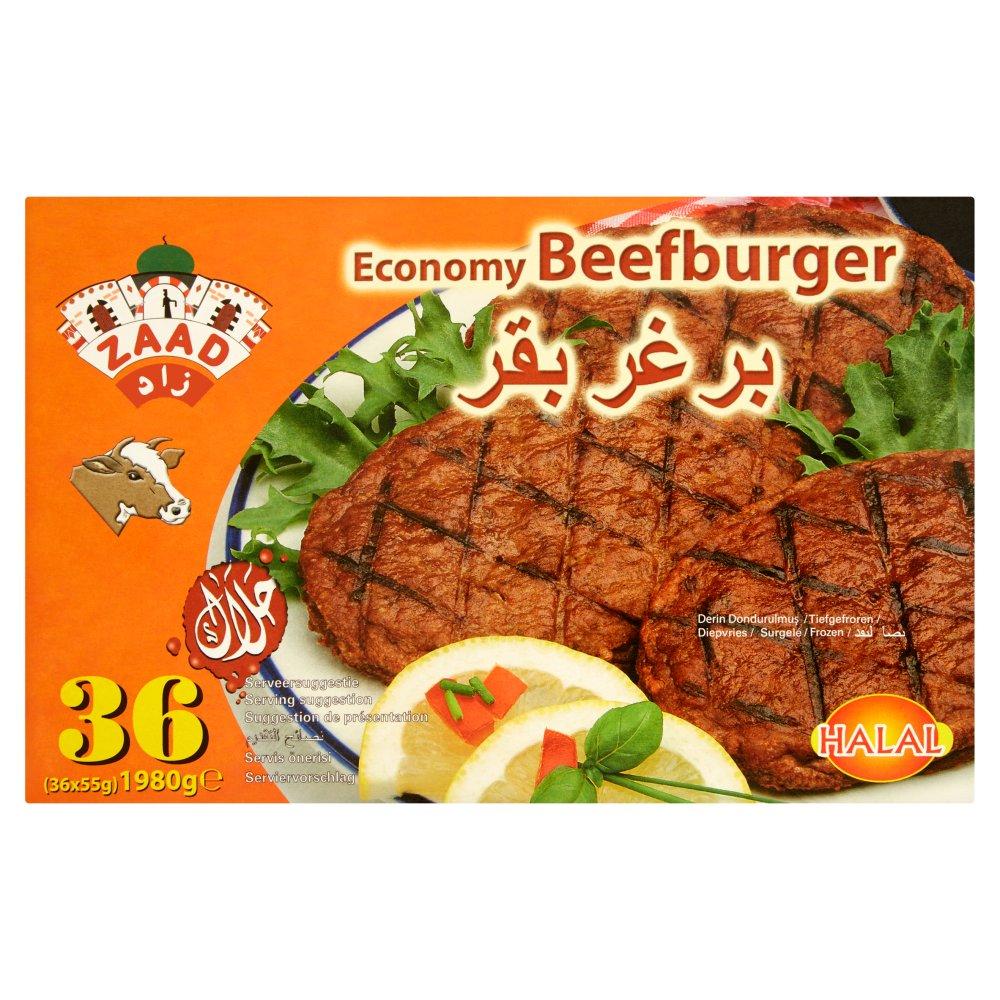 Zaad Economy Beefburger 36 x 55g (1980g)