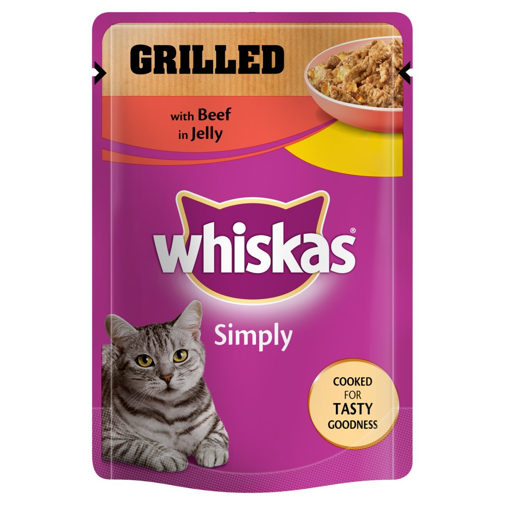 Whiskas Pouch Simply Grilled Beef 3 For £1
