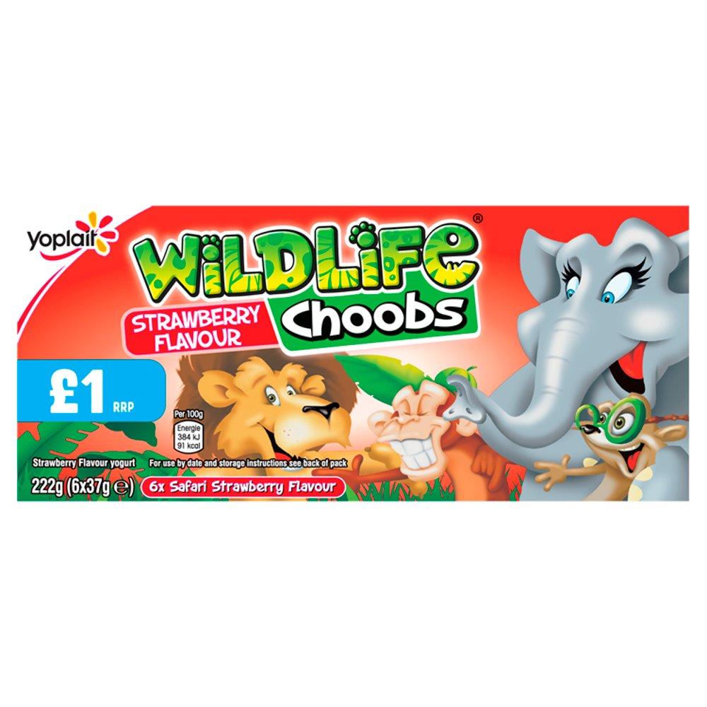 Wildlife Choobs Strawberry Flavour Yogurt Tubes 6 x 37g