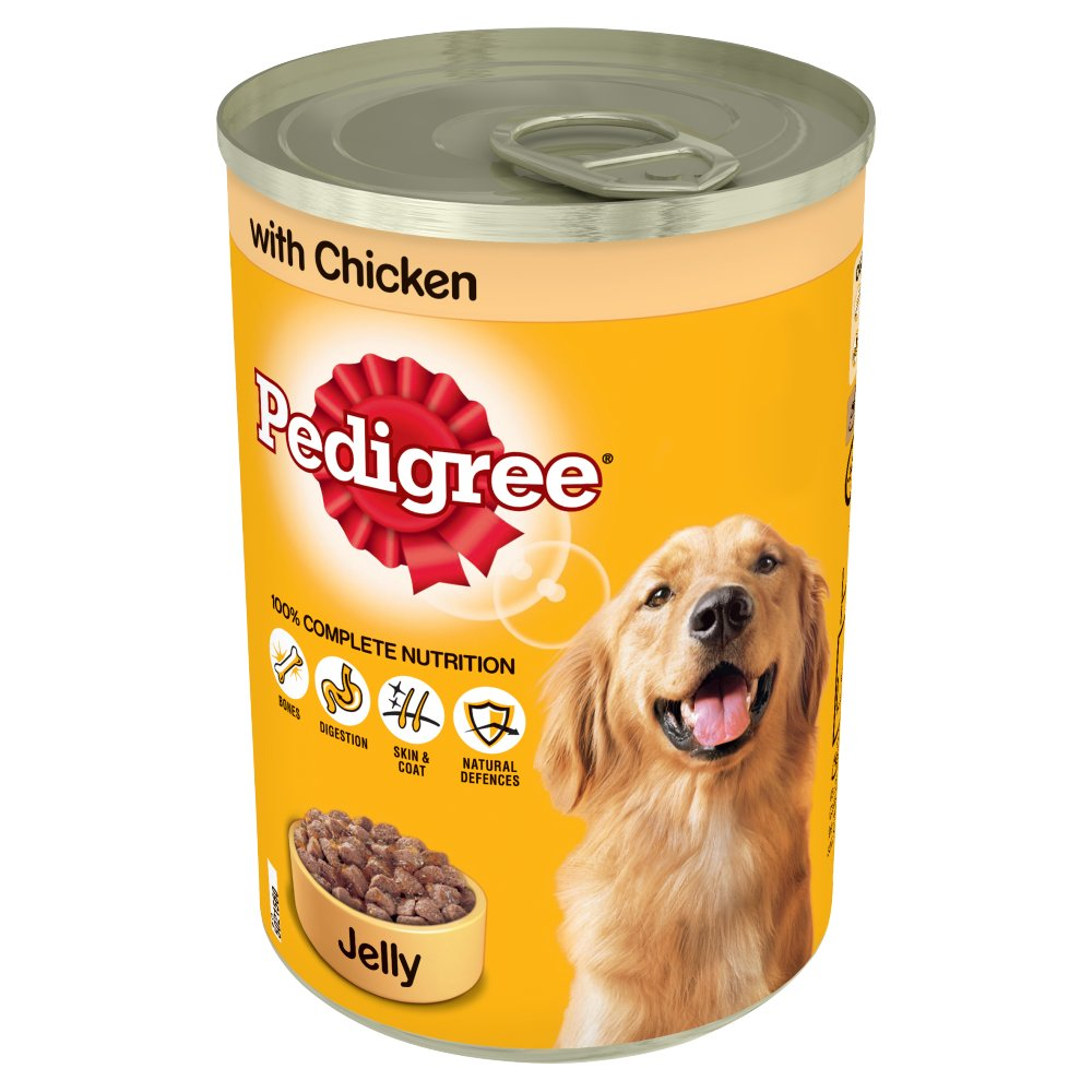 Pedigree Wet Dog Food Tin with Chicken in Jelly 385g