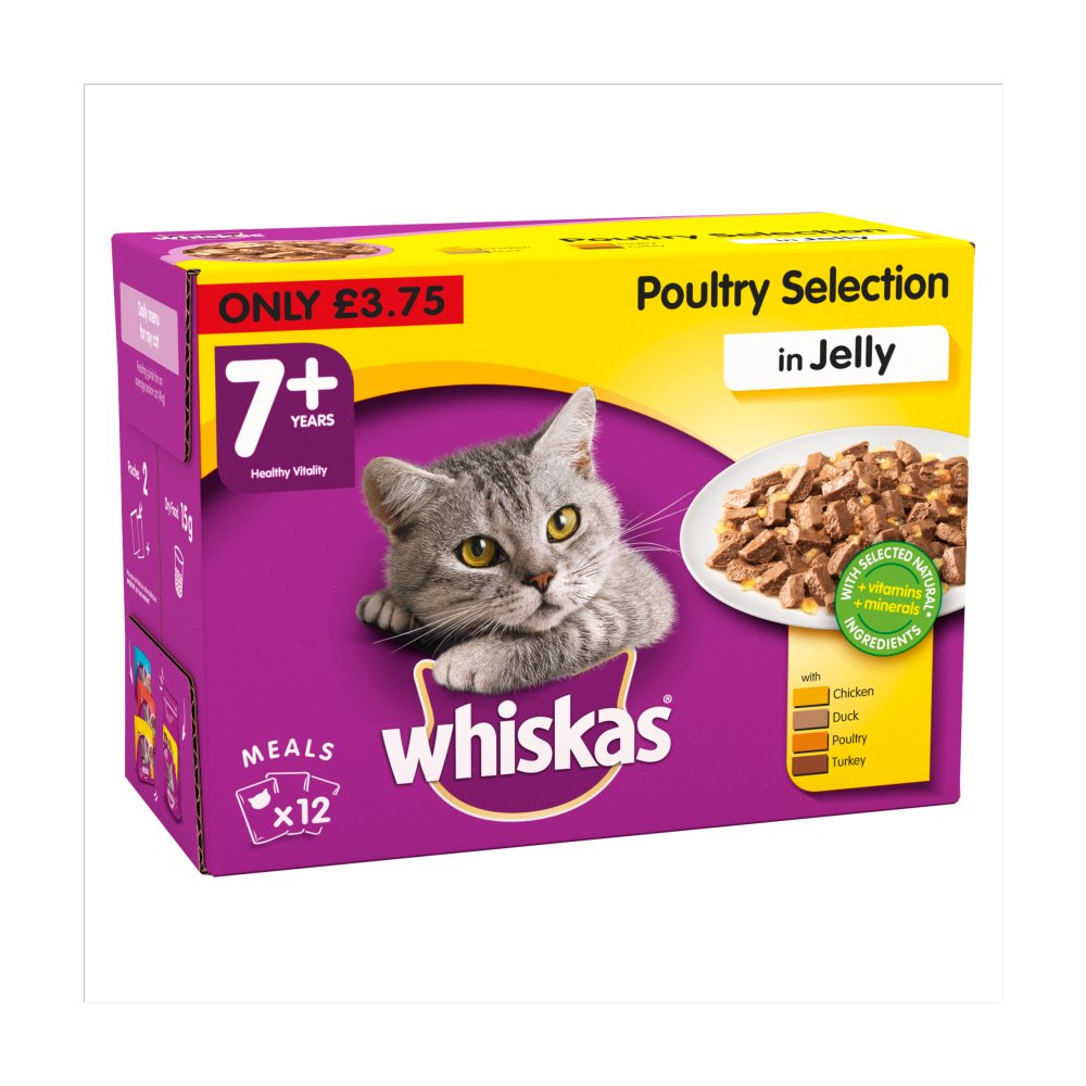 Whiskas Poultry in Jelly Wet Senior 7+ Cat Food Pouches 12 x 100g