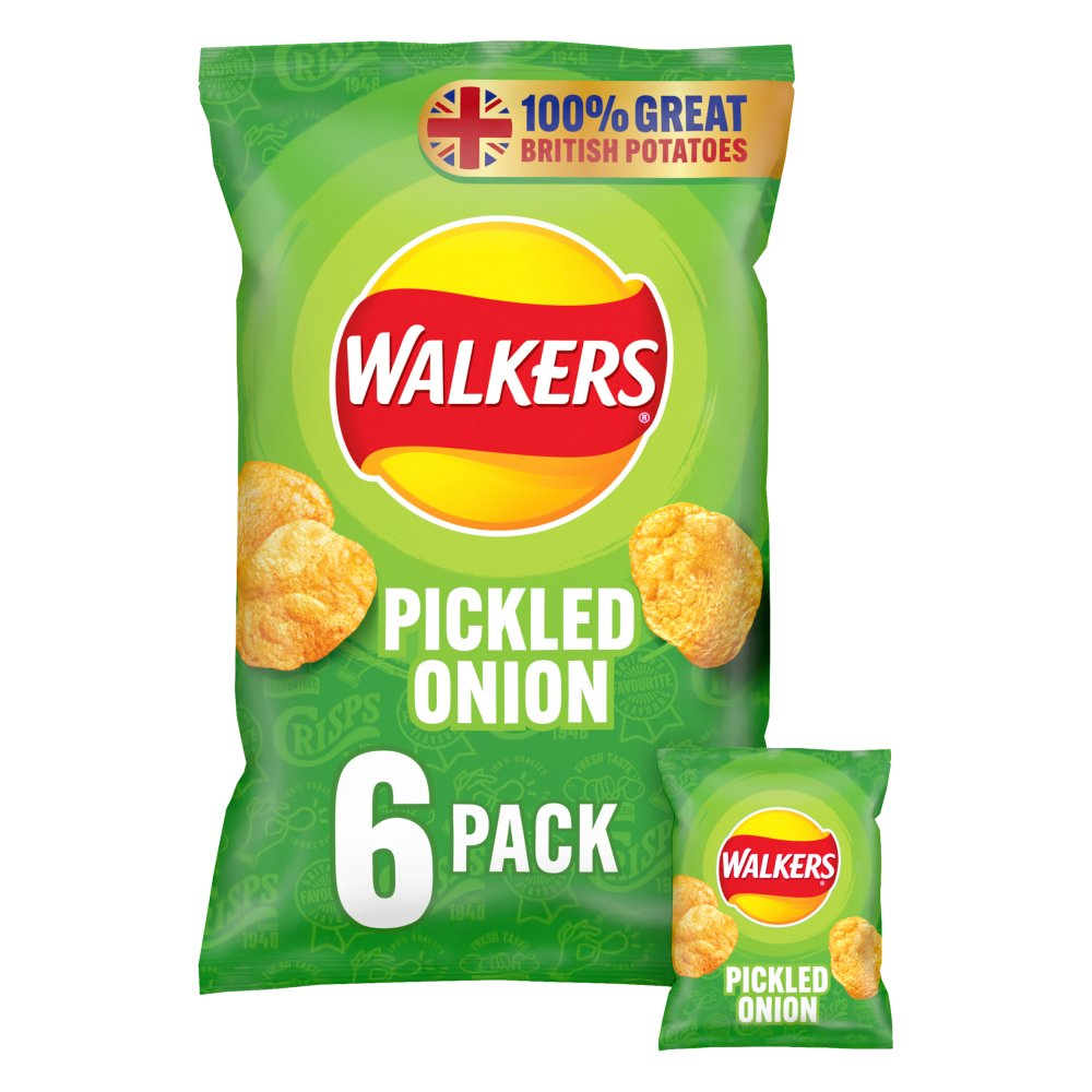 Walkers Pickled Onion Multipack Crisps 6 x 25g