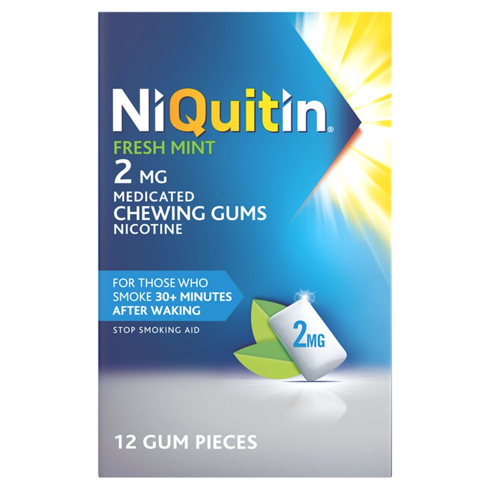 NiQuitin Fresh Mint 2mg Medicated Chewing Gums 12 Pieces