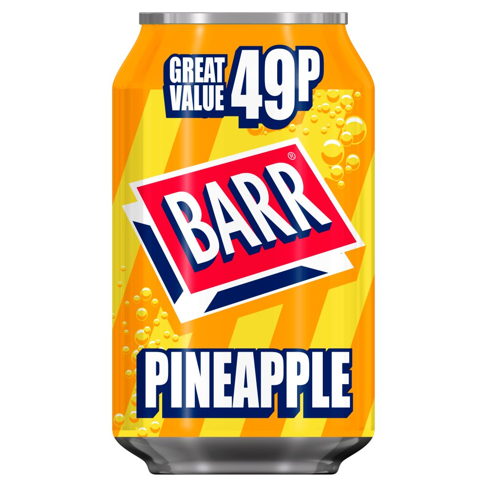 Barr Pineapple 330ml Can, PMP, 49p