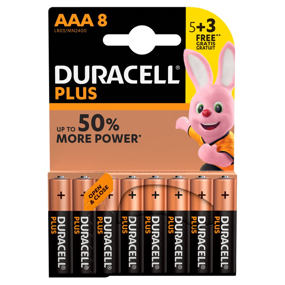 Duracell Plus Power AAA Alkaline Batteries 5 + 3 Free