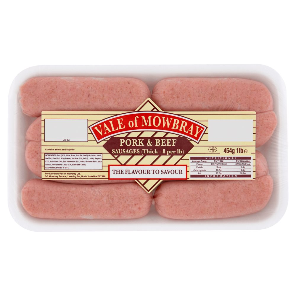 Vale Of Mowbray Pork & Beaf Sausages