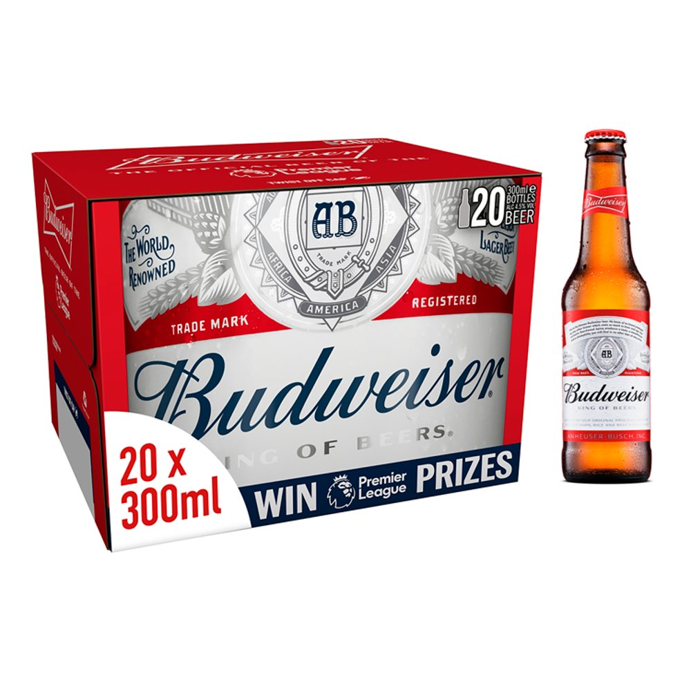 Budweiser King of Beers Lager Beer 20 x 330ml