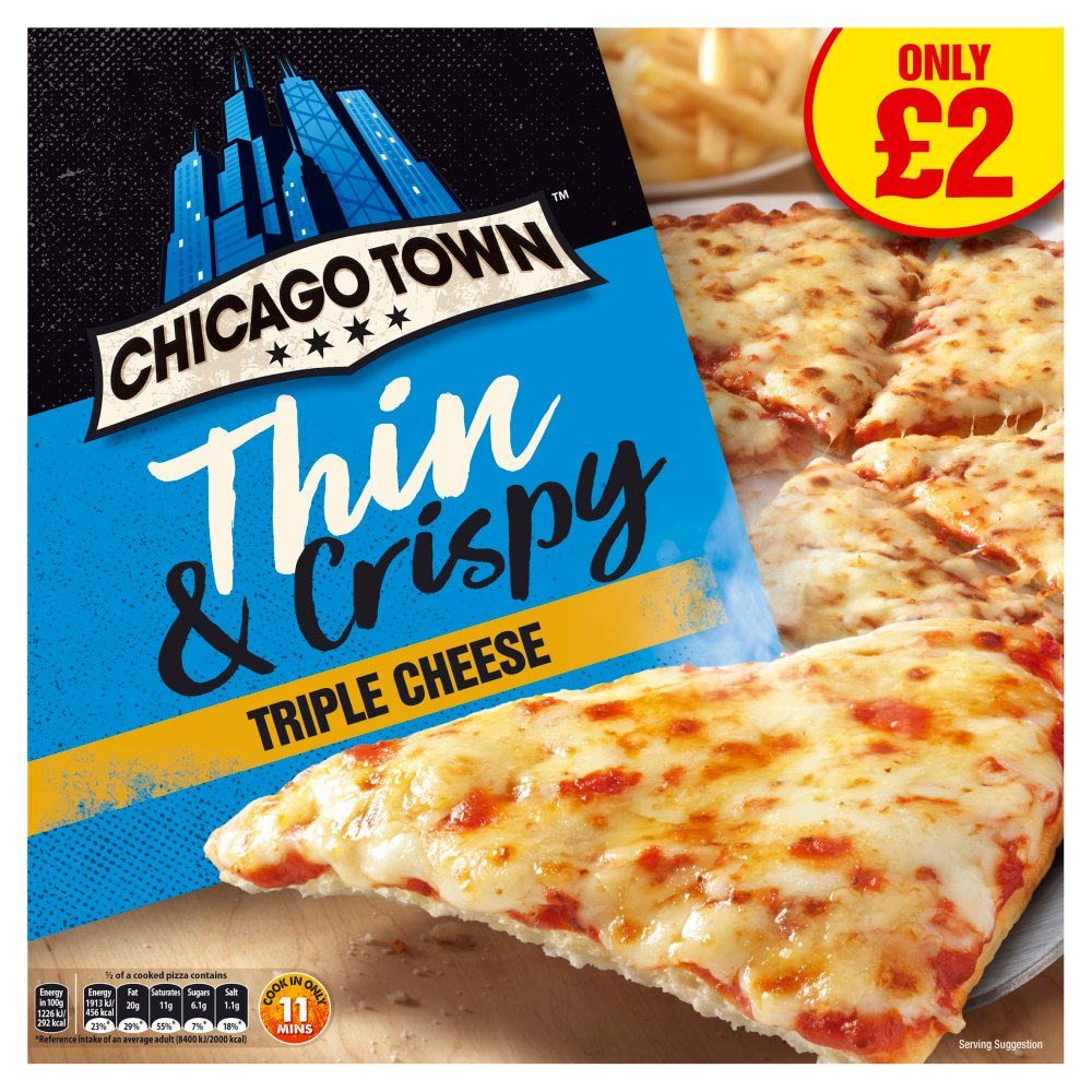 Chicago Town Thin & Crispy Triple Cheese Pizza 305g (PMP)