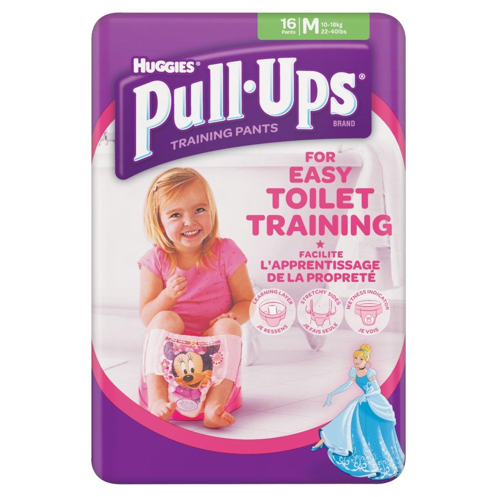Huggies Pull Ups Day Time Potty Training Pants Girls Size Medium, 16 Pants