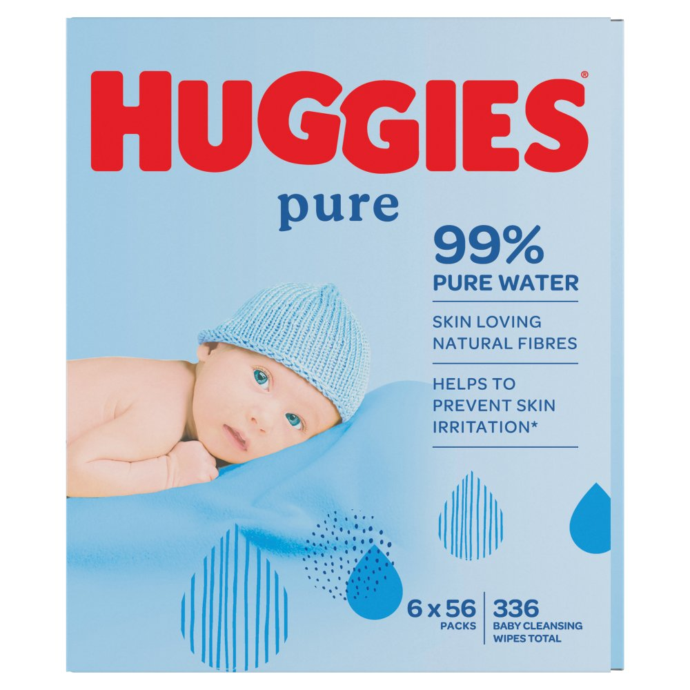 Huggies® Pure Baby Wipes - 6 Pack (56 Wipes/Pack, 336 Wipes Total)