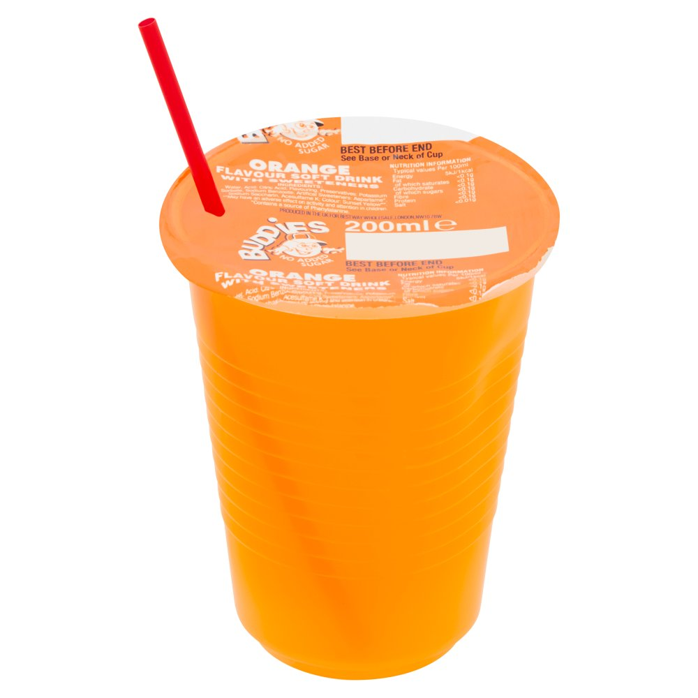 Buddies Orange Cups 200ml