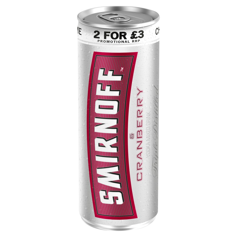 Smirnoff & Cranberry 250ml PMP 2 For £3