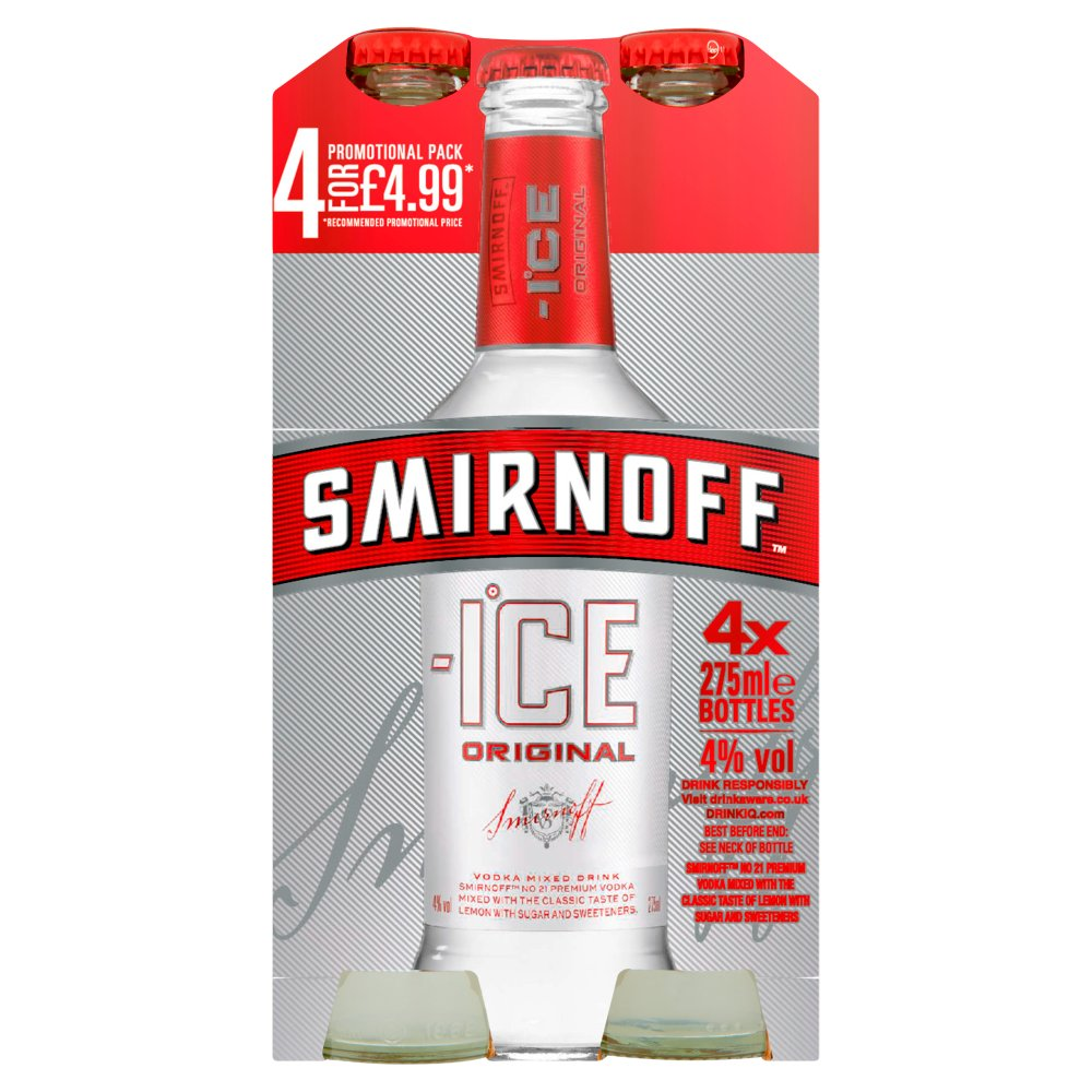 Smirnoff Ice Vodka Mixed Drink 4 x 250ml PMP £4.99