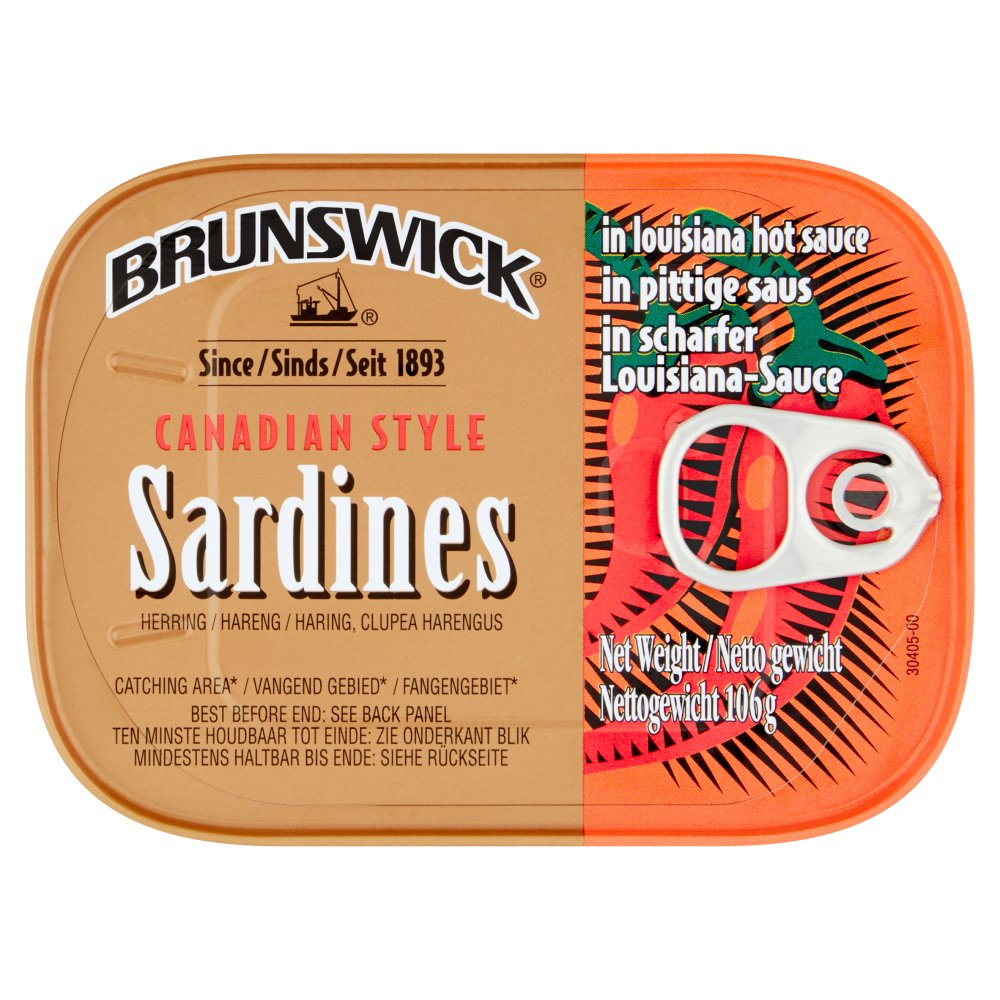 Brunswick Canadian Style Sardines in Louisiana Hot Sauce 106g