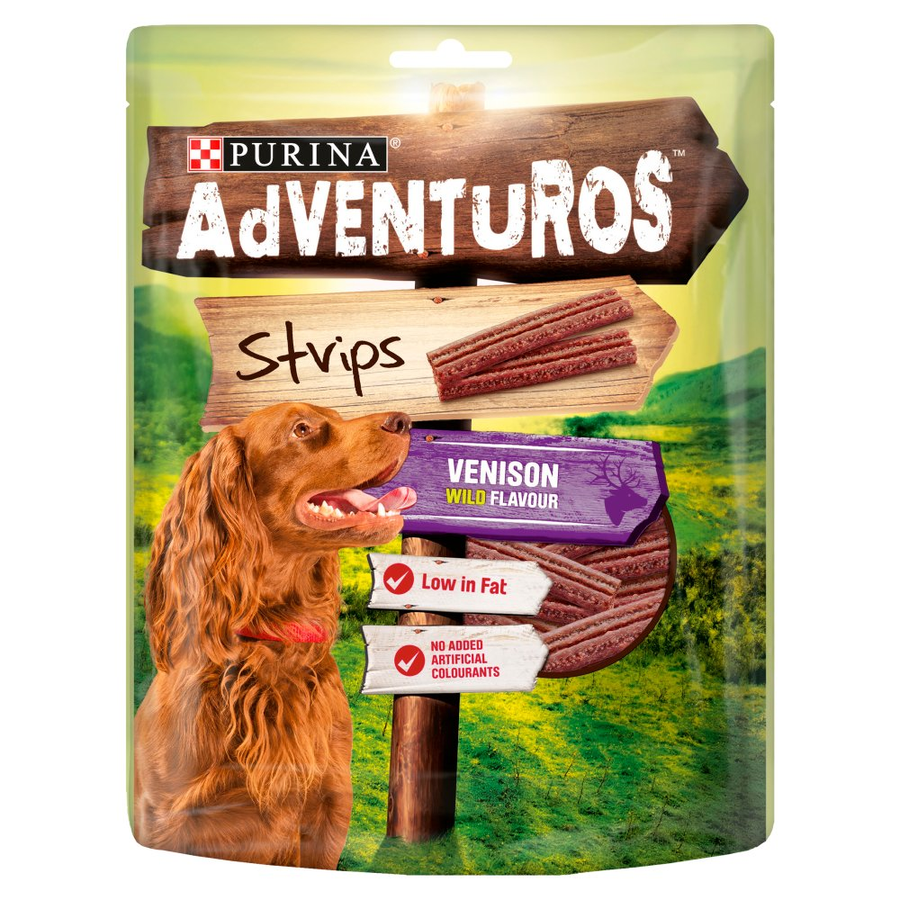 Adventuros Strips Dog Treat Venison Flavour 90g