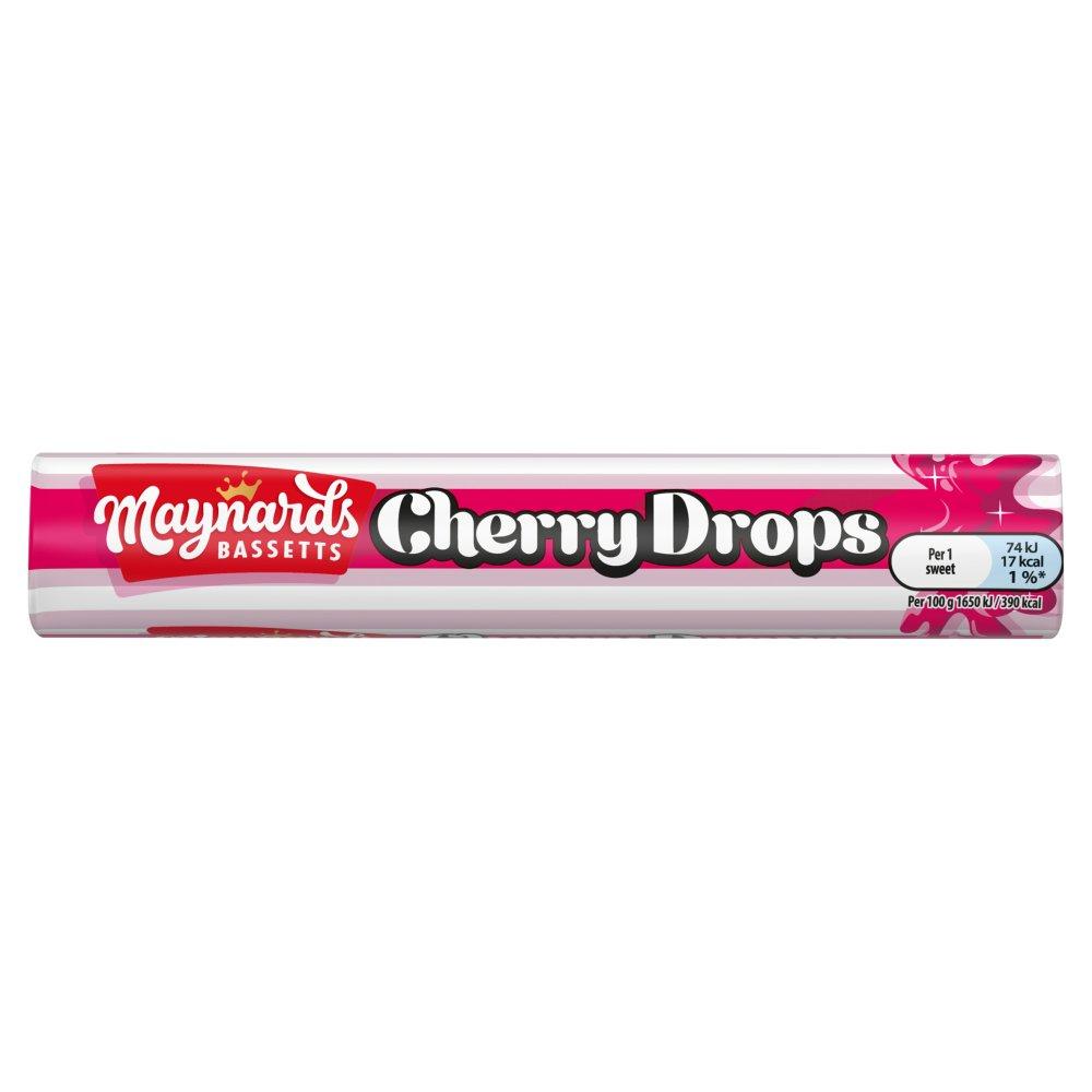 Maynards Bassetts Cherry Drops Sweets Roll 45g