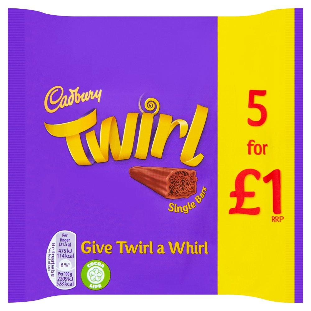 Cadbury Twirl £1 Chocolate Bar 5 Pack 107.5g