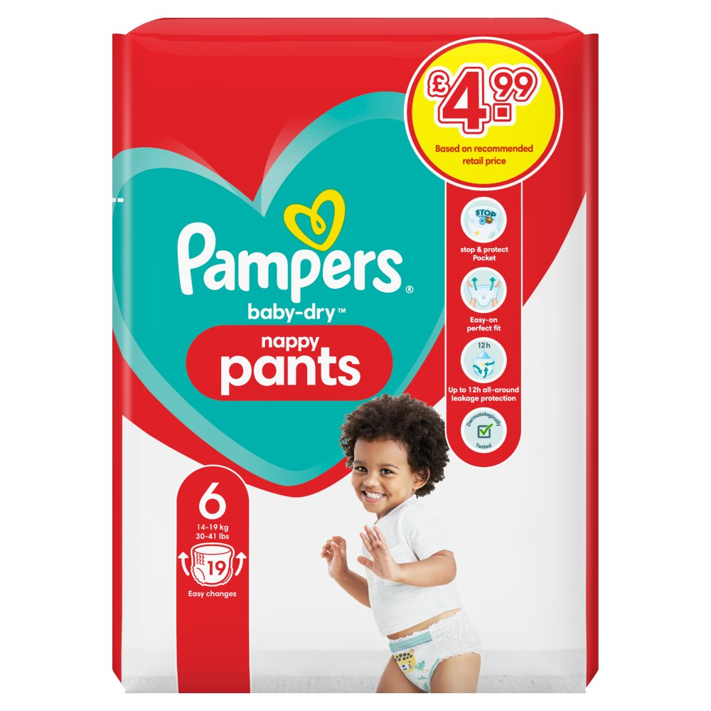 Pampers Baby-Dry Nappy Pants Size 6, 19 Nappy Pants, 15kg+, Carry Pack