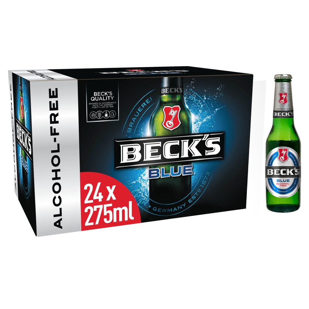 Beck's Blue Alcohol Free German Beer Bottles 24 x 275ml