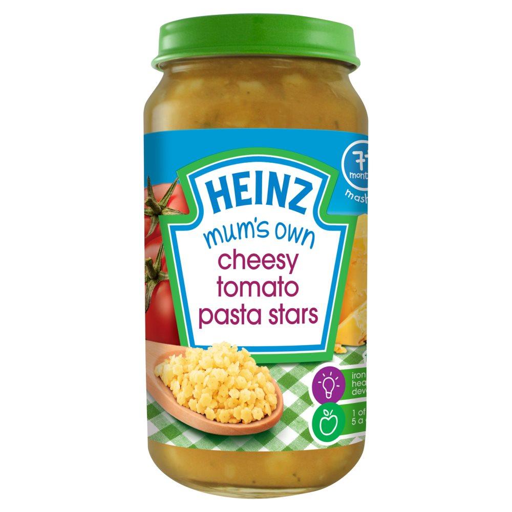 Heinz 7+ Months Mashed Mum's Own Cheesy Tomato Pasta Stars 200g