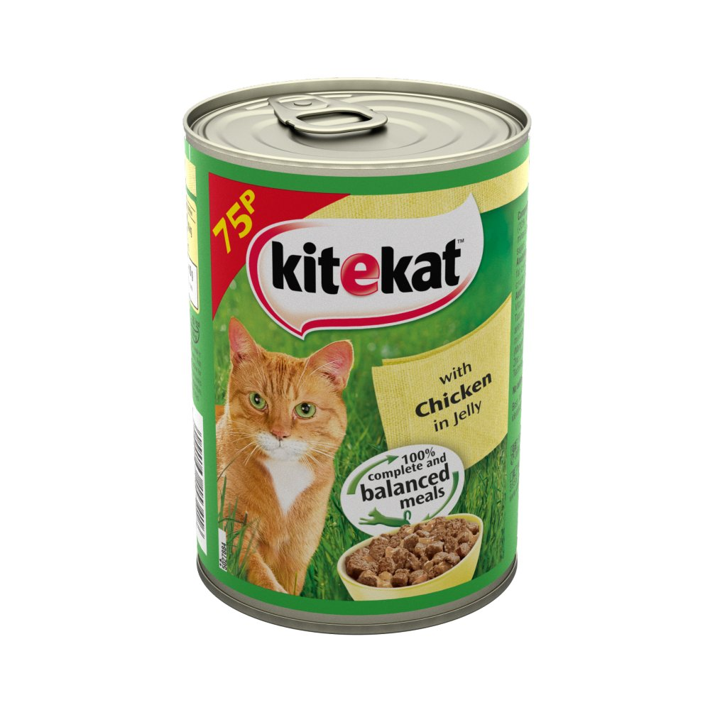 Kitekat Adult Wet Cat Food Tin with Chicken in Jelly 400g (MPP 75p)