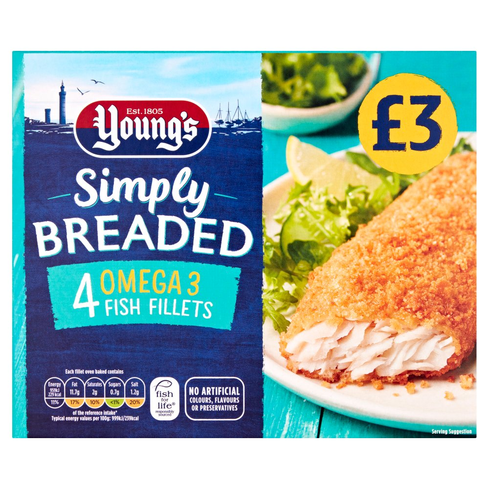 Young's Simply Breaded 4 Omega 3 Fish Fillets 400g