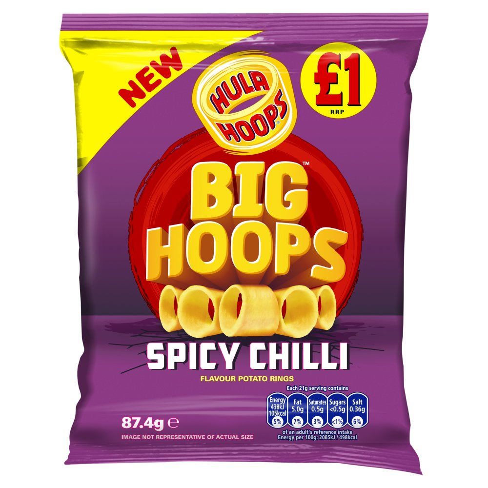 Hula Hoops Big Hoops Spicy Chilli Flavour Potato Rings 87.4g