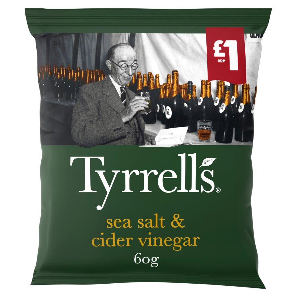 Tyrrells Sea Salt and Cider Vinegar Crisps 60g, £1 PMP
