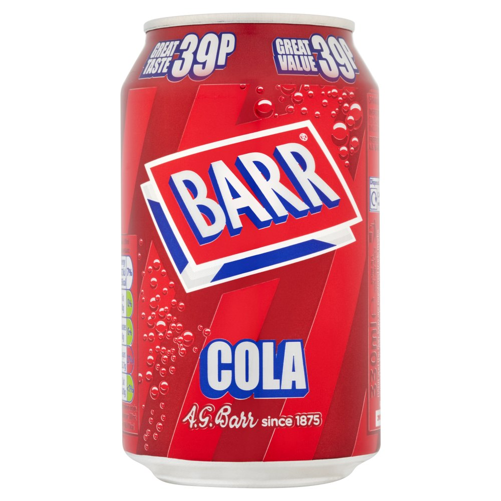 Barr Cola 330ml Cans PMP 39p