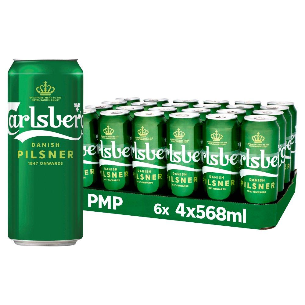 Carlsberg Danish Pilsner 4 x 568ml Cans PMP £5.99