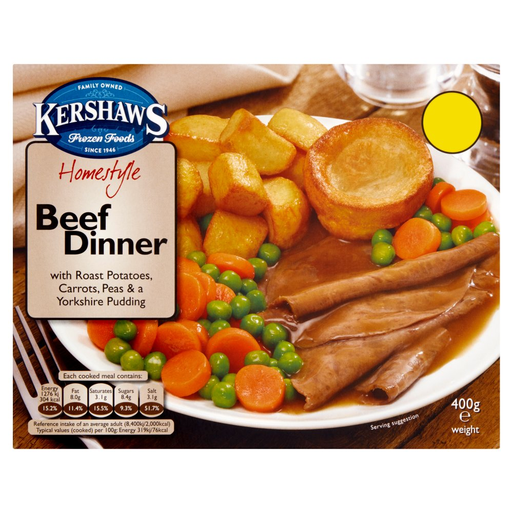 Kershaws Homestyle Beef Dinner with Roast Potatoes, Carrots, Peas & a Yorkshire Pudding 400g