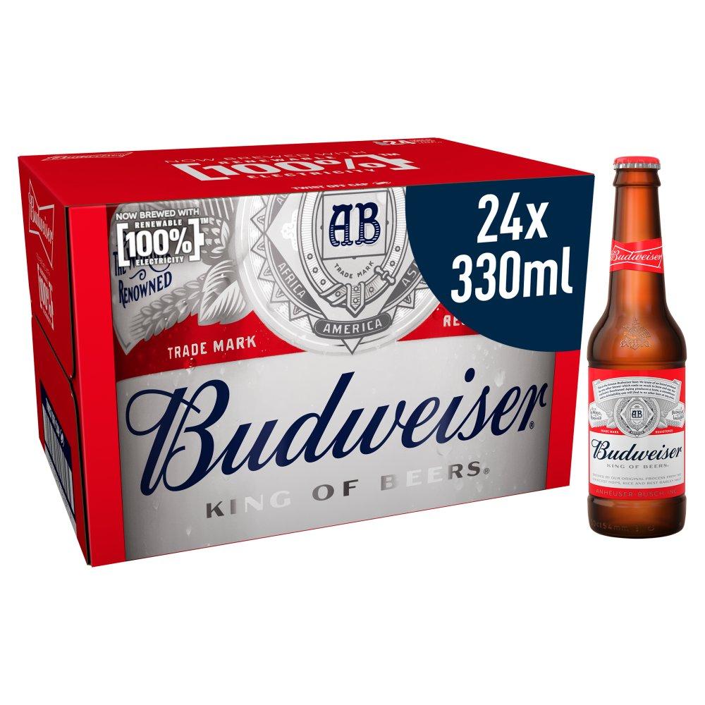 Budweiser Lager Beer Bottles 24 x 330ml