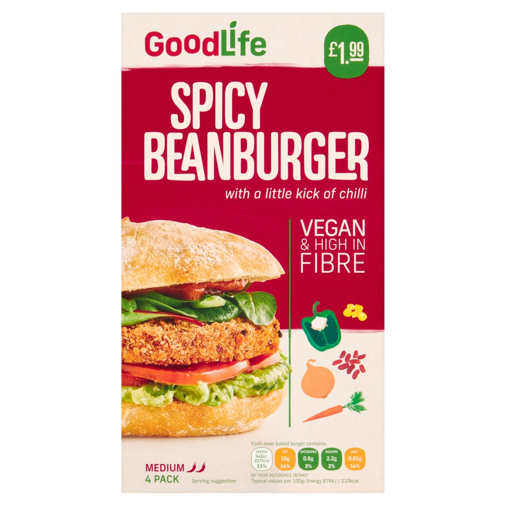 Goodlife 4 Spicy Veg Beanburgers with a Kick of Chipotle Chilli 454g