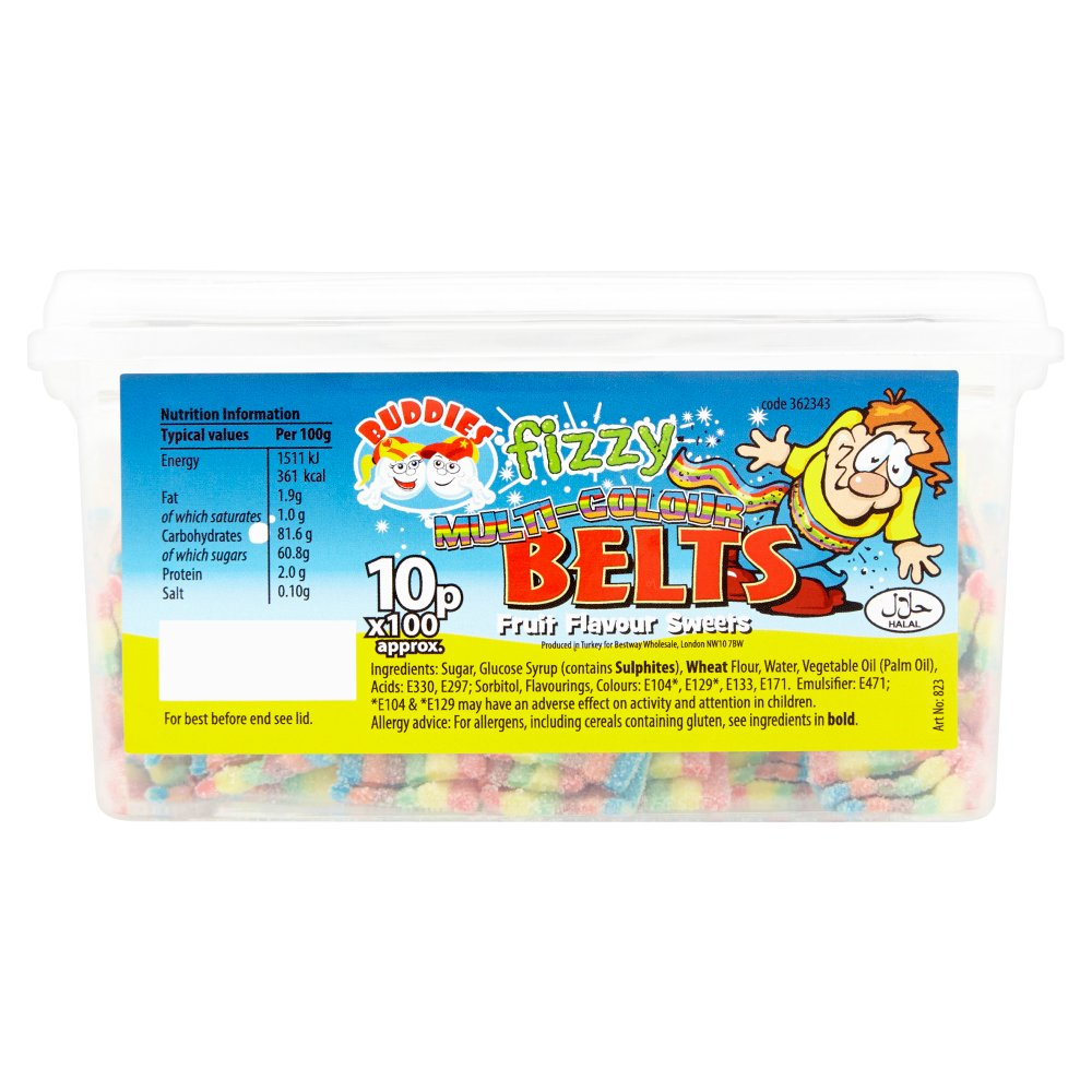 Buddies Fizzy Multi-Colour Belts Fruit Flavour Sweets