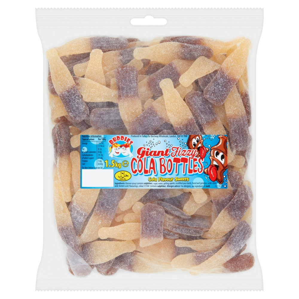 Buddies Giant Fizzy Cola Bottles Cola Flavour Sweets 1.5kg