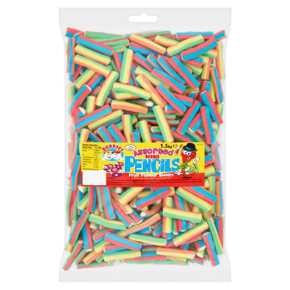 Buddies Assorted Mini Pencils Fruit Flavour Sweets 1.5kg