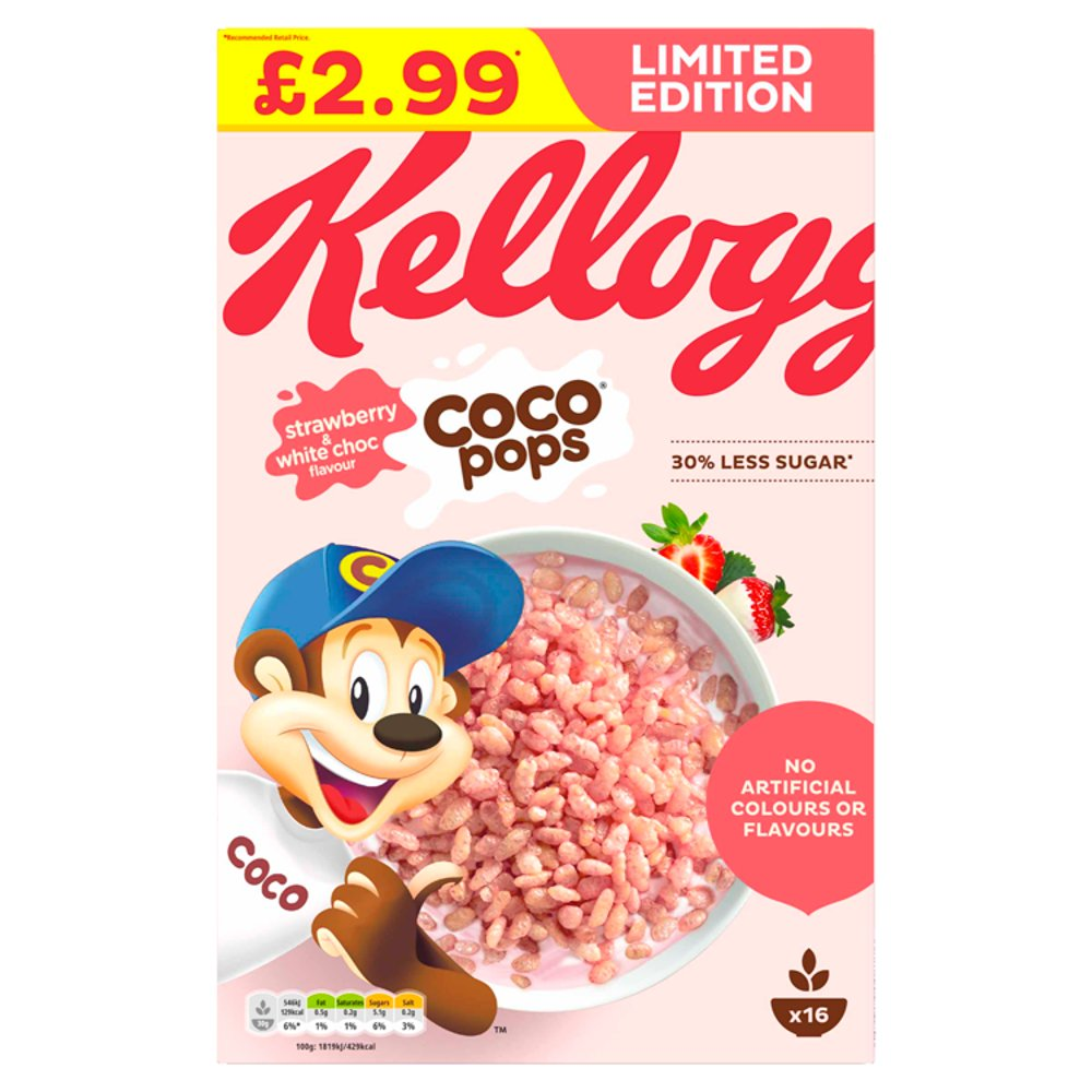 Kellogg's Limited Edition Coco Pops Strawberry & White Choc Flavour 480g