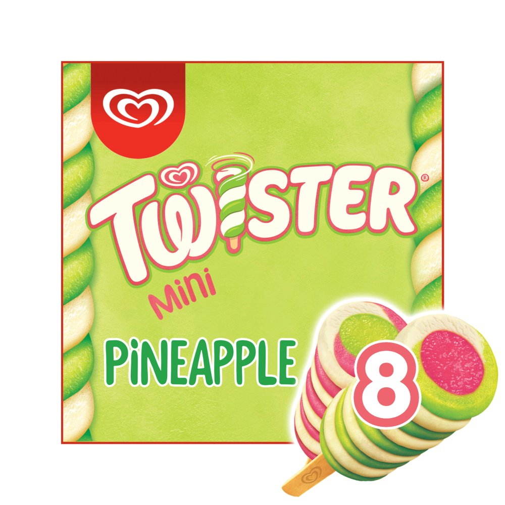 Twister Pineapple, Lemon-Lime, and Strawberry Mini Ice Cream Lolly 8 x 50 ml