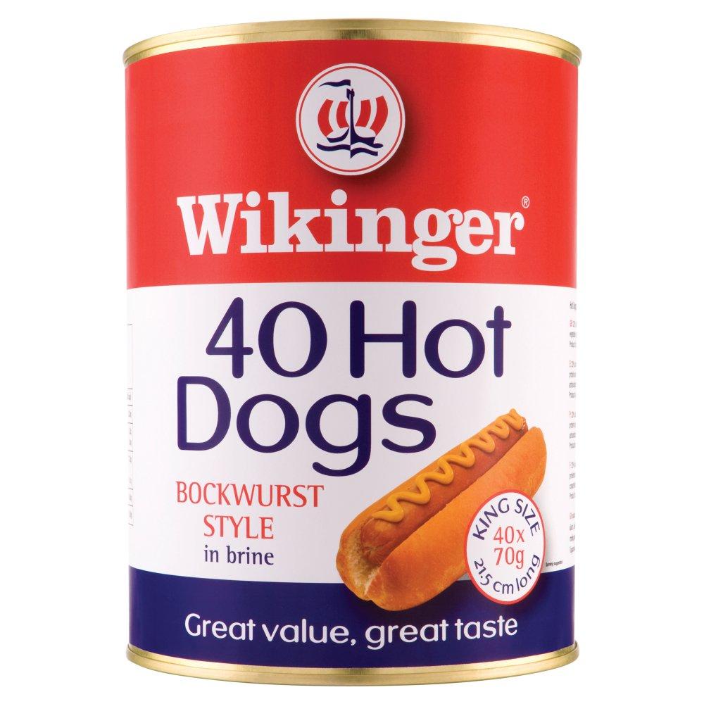 Wikinger 40 Hot Dogs Bockwurst Style in Brine 4100g